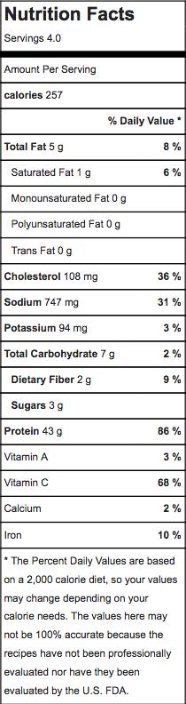 apricot chicken w caulirice nutrition